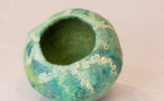Moss Green Felted Vessel