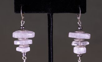 Clear Glass and Silver Earrings